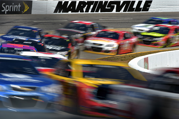 MARTINSVILLE, VA - APRIL 03:  A view of general race action during the NASCAR Sprint Cup Series STP 500 at Martinsville Speedway on April 3, 2016 in Martinsville, Virginia.  (Photo by Drew Hallowell/Getty Images)