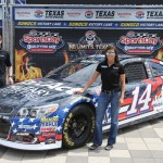 during a press event as Stewart-Haas Racing unveils the No. 14 TaxAct Military Files Free Chevrolet that Brian Vickers Will race on Saturday Night at Texas Motor Speedway on April 7, 2016 in Fort Worth, Texas.