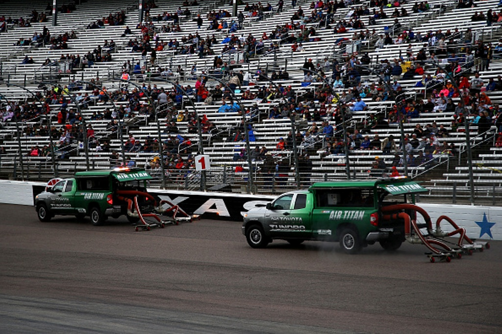 Air Titans work the track during the NASCAR Sprint Cup Series Duck Commander 500 at Texas Motor Speedway on April 9, 2016 in Fort Worth, Texas.