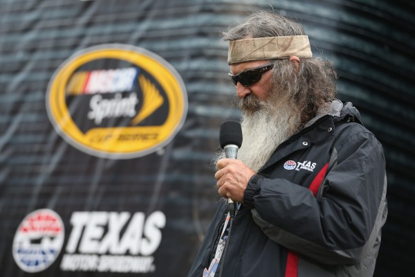 Phil Robertson gives the invocation Saturday at Texas Motor Speedway.