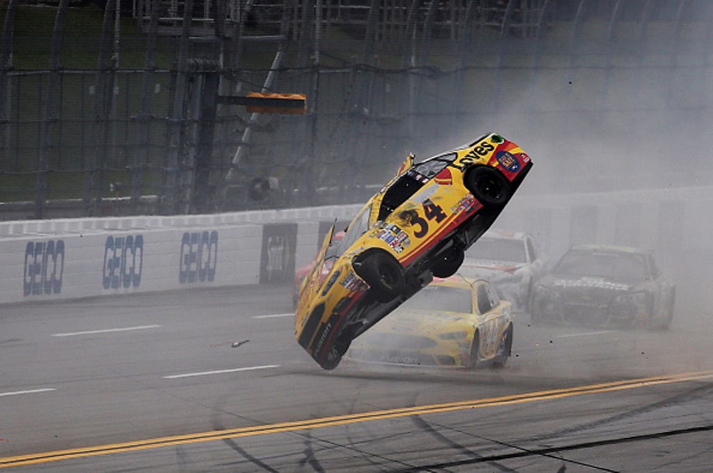 Chris Buescher crashes during the NASCAR Sprint Cup Series GEICO 500 at Talladega Superspeedway on May 1, 2016 in Talladega, Alabama.