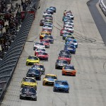 Cars race during the NASCAR Sprint Cup Series AAA 400 Drive for Autism at Dover International Speedway on May 15, 2016 in Dover, Delaware. (Getty Images)
