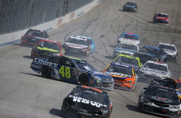 An 18-car crash was set off during the NASCAR Sprint Cup Series AAA 400 Drive for Autism at Dover International Speedway on May 15, 2016 in Dover, Delaware.