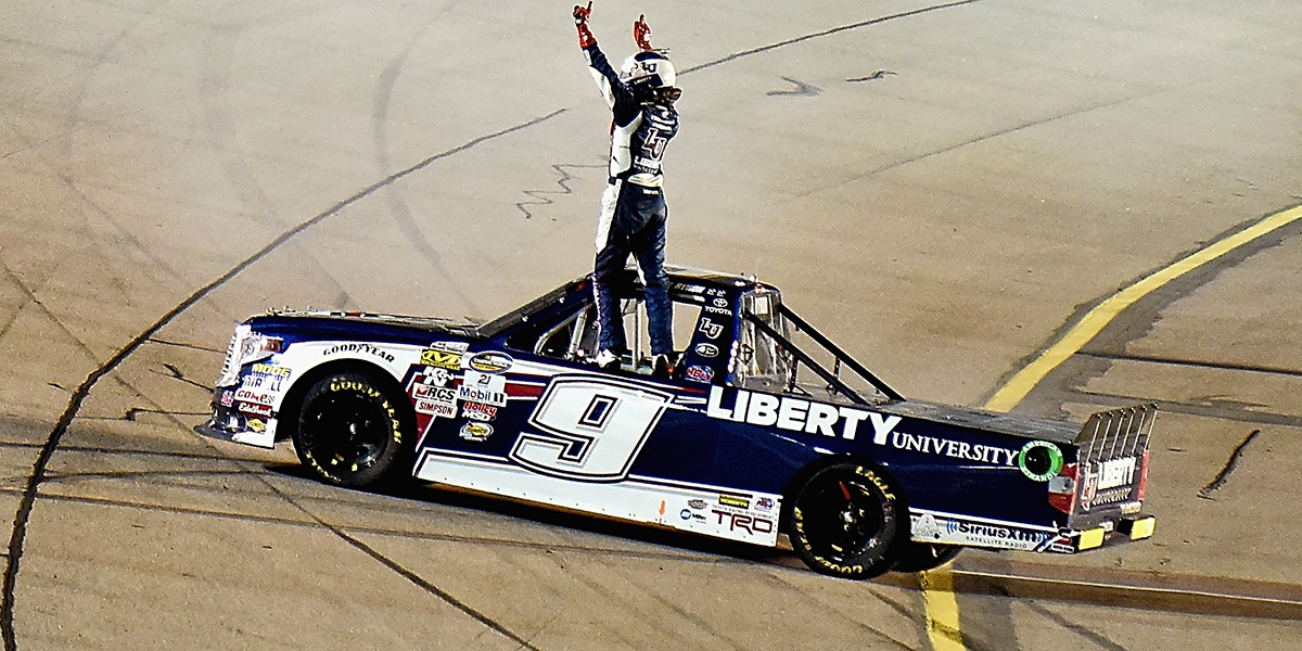 William Byron celebrates his third win of the season Saturday night at Iowa.