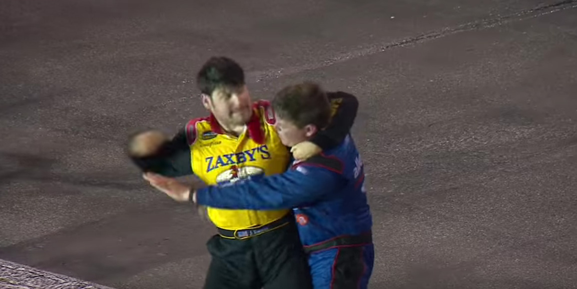 John Wes Townley and Spencer Gallagher fight during the truck race at Gateway Saturday night.