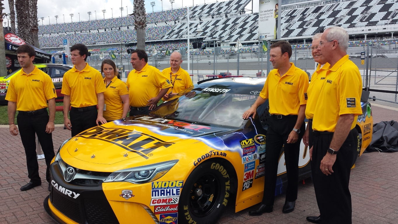 The new DeWalt paint scheme was unveiled at Daytona Thursday. (Photo: Greg Engle)