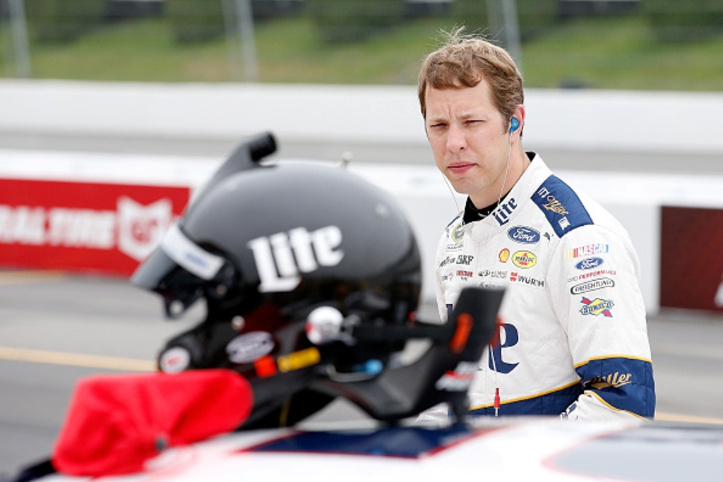 "Brad Keselowski on pit road during qualifying for the NASCAR Sprint Cup Series Axalta ""We Paint Winners"" 400 at Pocono Raceway on June 3, 2016 in Long Pond, Pennsylvania."