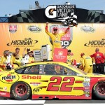 Joey Logano celebrates after winning  the NASCAR Sprint Cup Series FireKeepers Casino 400 at Michigan International Speedway on June 12, 2016 in Brooklyn, Michigan. (Getty Images)