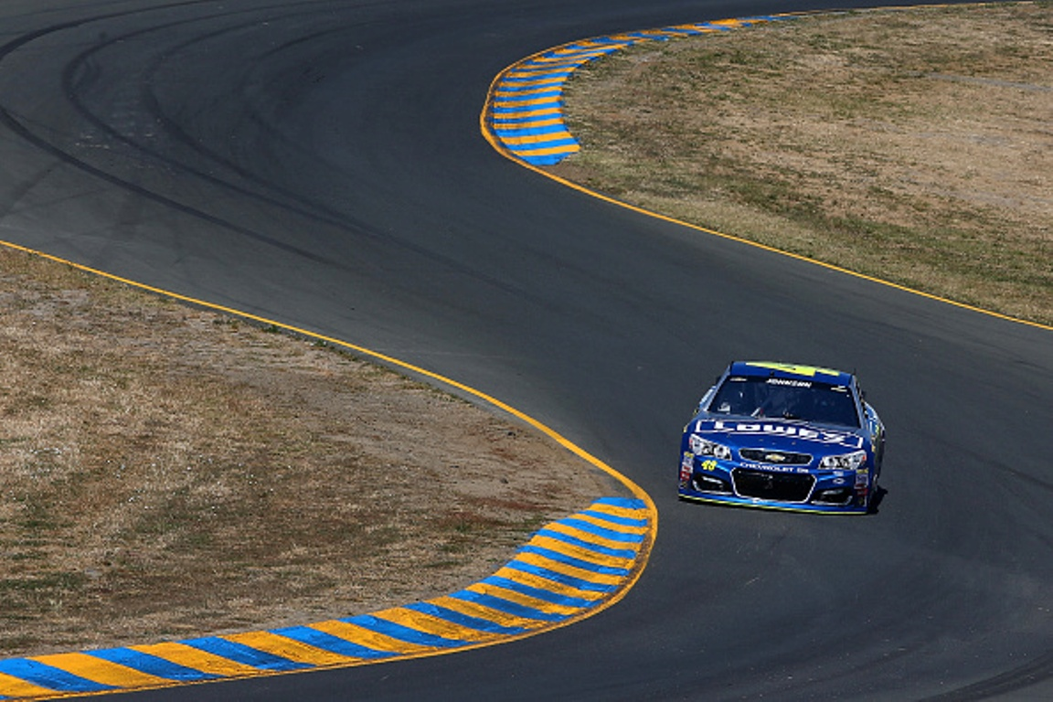 Jimmie Johnson on track during qualifying for the NASCAR Sprint Cup Series Toyota/Save Mart 350 at Sonoma Raceway on June 25, 2016 in Sonoma, California.
