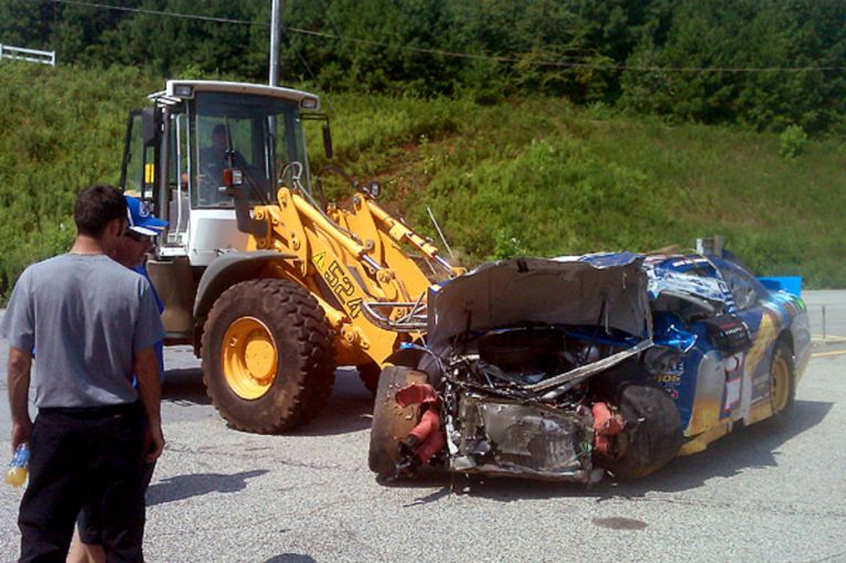Brad Keselowski crashed during a test at Road Atlanta in August of 2011 (Twitter)