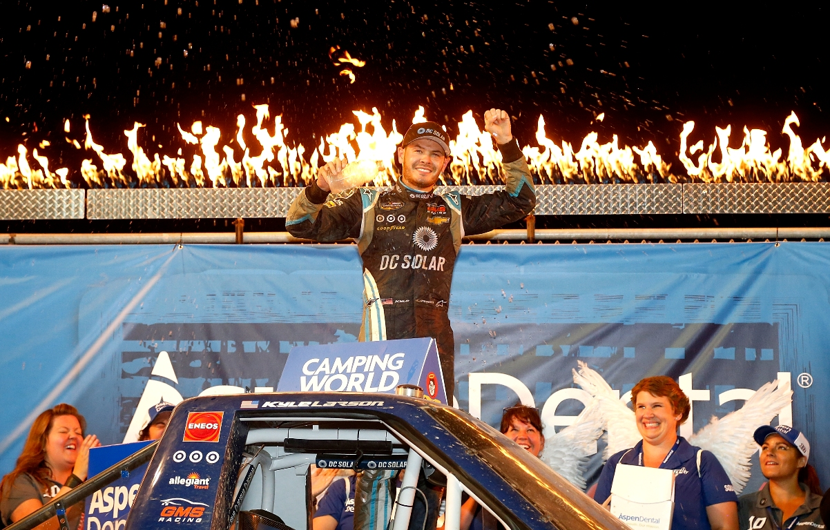 Kyle Larson, driver of the #24 DC Solar Chevrolet, celebrates after winning the NASCAR Camping World Series 4th Annual Aspen Dental Eldora Dirt Derby 150, at Eldora Speedway on July 20, 2016 in Rossburg, Ohio. (Getty Images)