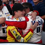 (L-R) Jeff Gordon, driver of the #88 Axalta Chevrolet, hugs Tony Stewart, driver of the #14 Mobil 1/Chevy Summer Sell Down Chevrolet, after the NASCAR Sprint Cup Series Crown Royal Presents the Combat Wounded Coalition 400 at Indianapolis Motor Speedway on July 24, 2016 in Indianapolis, Indiana.  (Getty Images)