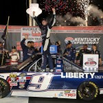 William Byron, driver of the #9 Liberty University Toyota, celebrates in Victory Lane after winning the NASCAR Camping World Truck Series Buckle Up In Your Truck 225 at Kentucky Speedway on July 7, 2016 in Sparta, Kentucky.