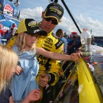 LOUDON, NH - JULY 17:  Matt Kenseth, driver of the #20 Dollar General Toyota, places the winner's decal on his car with the help of his daughters Clara, Kaylin and Grace after winning the NASCAR Sprint Cup Series New Hampshire 301 at New Hampshire Motor Speedway on July 17, 2016 in Loudon, New Hampshire.  (Photo by Sarah Crabill/NASCAR via Getty Images)