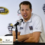 Brad Keselowski, driver of the #2 Alliance Truck Parts Ford, holds a press conference before practice for the NASCAR Sprint Cup Series Pennsylvania 400 at Pocono Raceway on July 29, 2016 in Long Pond, Pennsylvania.  (Getty Images)