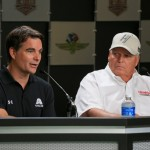 (L-R) Jeff Gordon, driver of the #88 Axalta Chevrolet, and team owner Rick Hendrick speak to the media before practice for the NASCAR Sprint Cup Series Crown Royal presents the Combat Wounded Coalition 400 at the Brickyard at Indianapolis Motor Speedway on July 23, 2016 in Indianapolis, Indiana. (Getty Images)