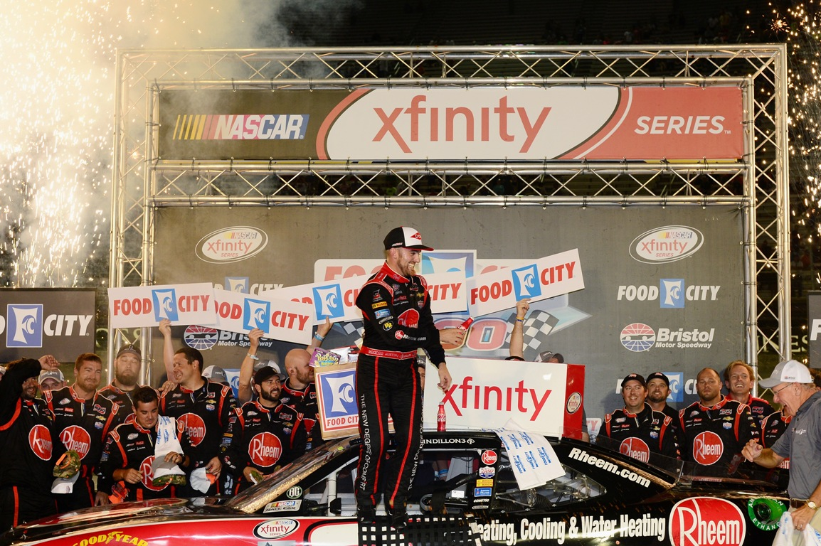 Austin Dillon celebrates his Xfinity Series win at Bristol Friday night.  (Getty Images)