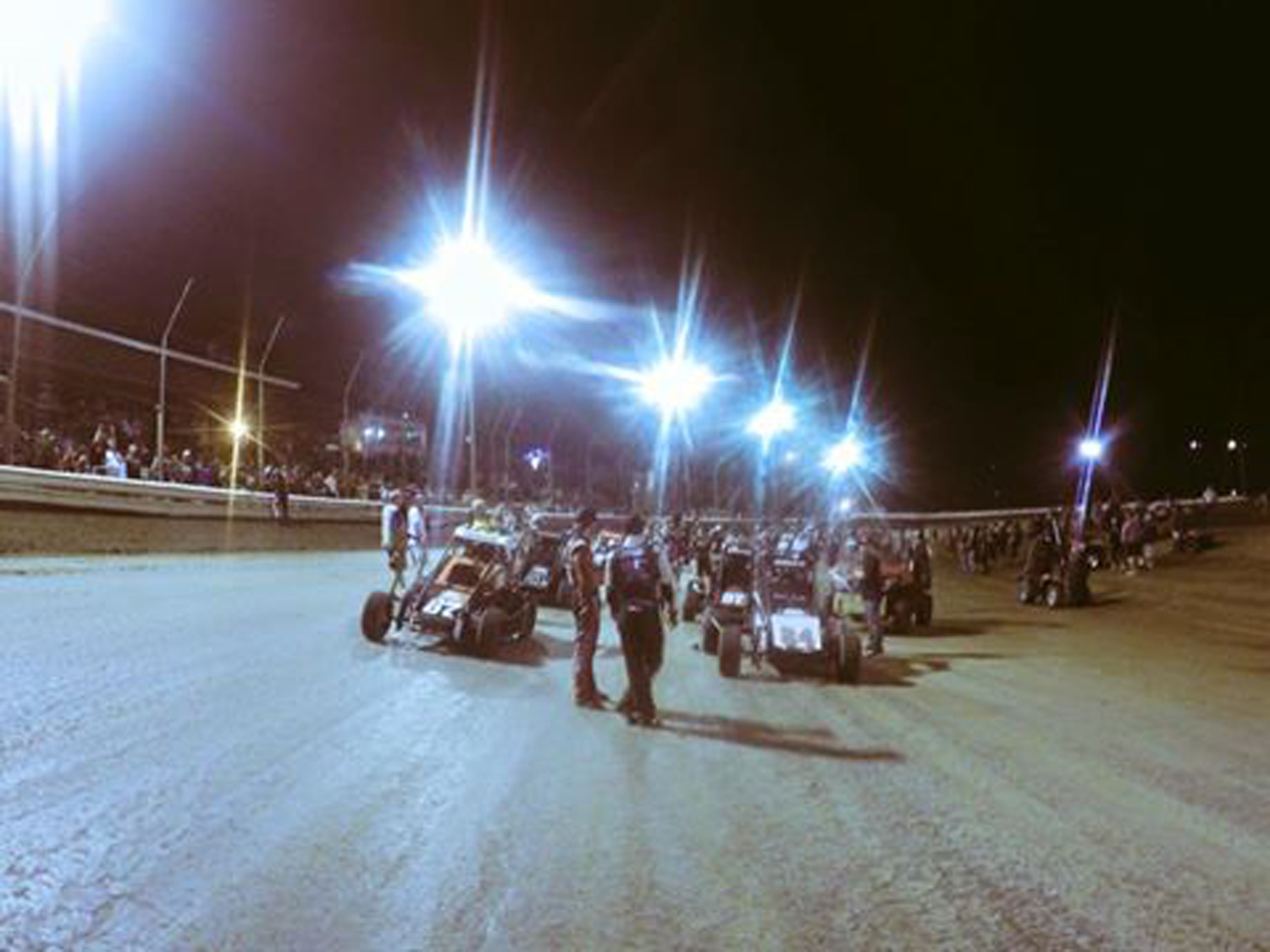 Clauson started ninth in the feature at Belleville Saturday night. His team posted this photo just prior to the start.