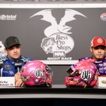 Ricky Stenhouse Jr. and Kyle Larson meet with the media at Bristol Friday. (Getty Images)