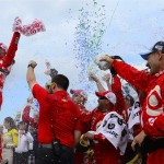 Kyle Larson celebrates his win with the No. 42 Chip Ganassi Racing team. (Photo by Robert Laberge/Getty Images)