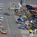 Cars pit during the Pure Michigan 400 Sunday. (Getty Images)