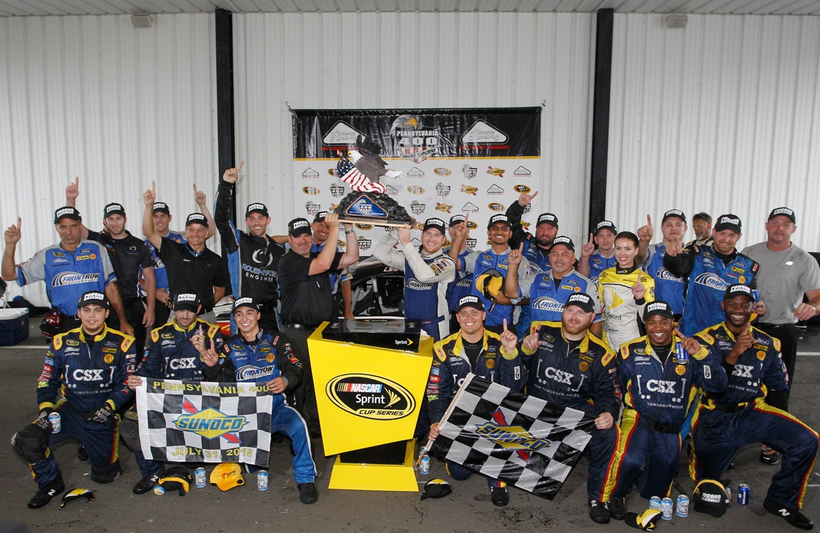 Chris Buescher and his team celebrate their win at Pocono .(Getty Images)