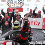 Michael McDowell celebrates his victory after the NASCAR Xfinity Series Road America 180 fired up by Johnsonville at Road America on August 27, 2016 in Elkhart Lake, Wisconsin. (Getty Images)