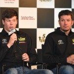 (L-R) Erik Jones and Martin Truex Jr., driver of the #78 Furniture Row Toyota, speak to the media after announcing Jones will drive the #77 5 -hour Energy Toyota for Furniture Row Racing in 2017 prior to the NASCAR Sprint Cup Series Cheez-It 355 at Watkins Glen International on August 7, 2016 in Watkins Glen, New York. (Getty Images)