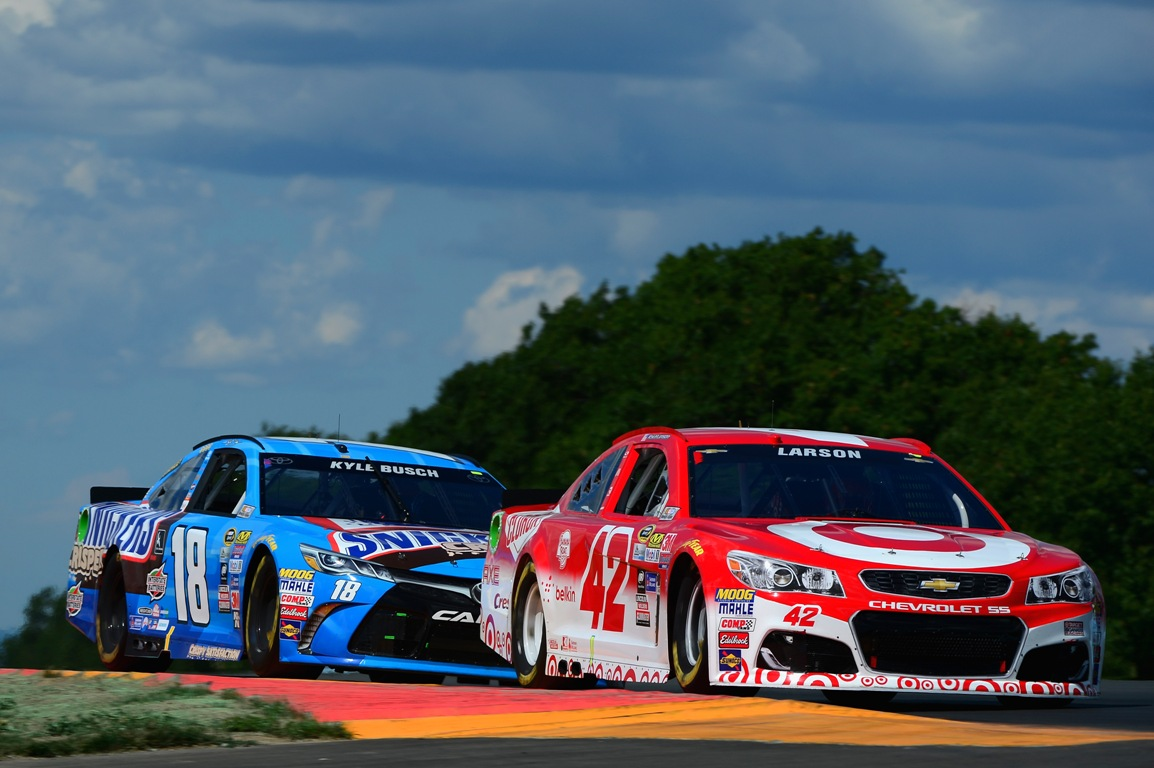 Kyle Larson ran near the front for most of the day Sunday at Watkins Glen (Getty Images)