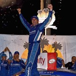 Elliott Sadler celebrates his win at Kentucky Speedway Saturday night. (Getty Images)