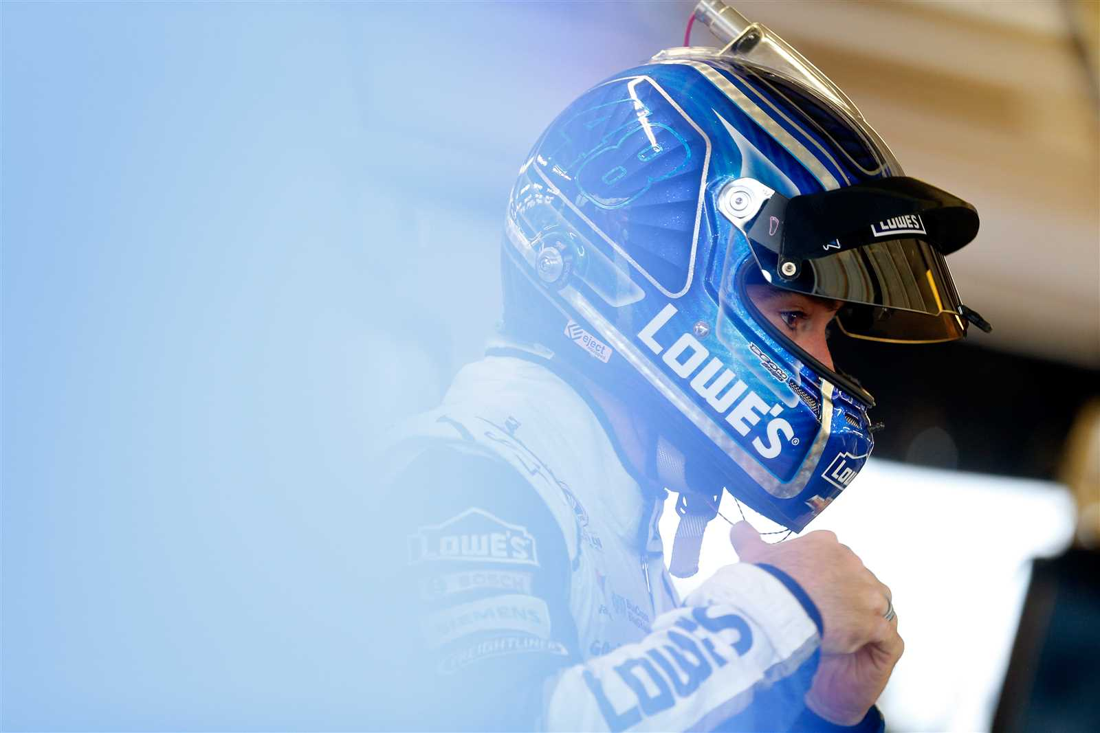 Jimmie Johnson gets ready to practice at Chicagoland Friday. (Getty Images)