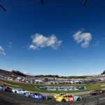 Cars race during the NASCAR Sprint Cup Series Bad Boy Off Road 300 at New Hampshire Motor Speedway on September 25, 2016 in Loudon, New Hampshire.  (Getty Images)