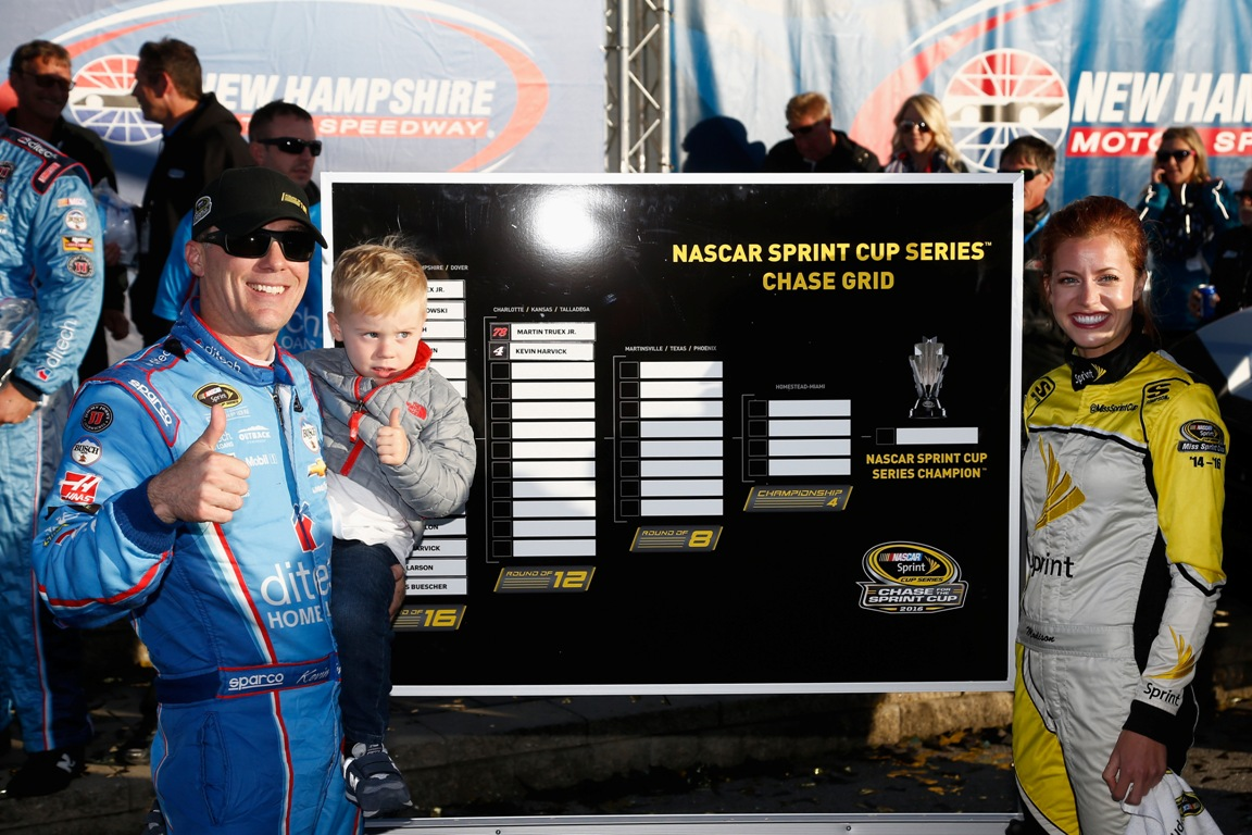 Kevin Harvick secured a spot in the Round of 12 Sunday with a win at New Hampshire. (Getty Images)