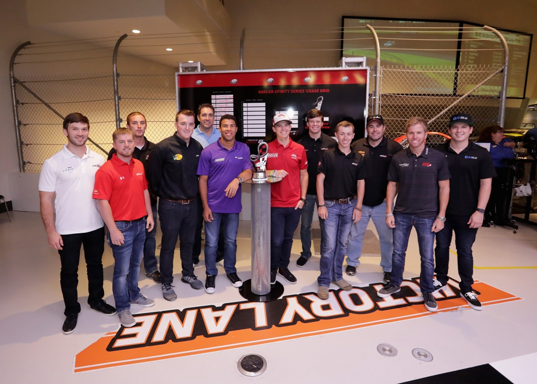 (L-R) Daniel Suarez, Justin Allgaier, Ryan Sieg, Ty Dillon, Elliott Sadler, Darrell Wallace Jr., Ryan Reed, Erik Jones, Brandon Jones, Brendan Gaughan, Blake Koch and Brennan Poole pose for a picture during the NASCAR XFINITY Series Chase Media Day at NASCAR Hall of Fame on September 20, 2016 in Charlotte, North Carolina.  (Getty Images)