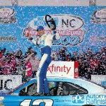 Joey Logano, driver of the #12 PPG Ford, celebrates in victory lane after winning the NASCAR XFINITY Series Drive For The Cure 300 Presented by Blue Cross Blue Shield of North Carolina at Charlotte Motor Speedway on October 9, 2016 in Charlotte, North Carolina. (Getty Images)