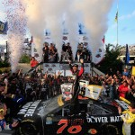 Martin Truex JR. celebrates his win Sunday at Dover. (Getty Images)