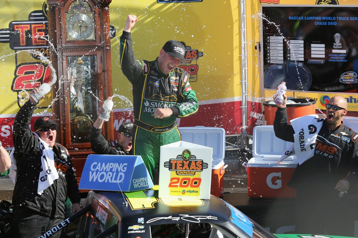 Johnny Sauter celebrates winning the NASCAR Camping World Truck Series Texas Roadhouse 200 presented by Alpha Energy Solutions at Martinsville Speedway on October 29, 2016 in Martinsville, Virginia. (Getty Images)