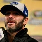 Jimmie Johnson, driver of the #48 Lowe's Chevrolet, answers questions from the media prior to practice for the NASCAR Sprint Cup Series Hollywood Casino 400 at Kansas Speedway on October 14, 2016 in Kansas City, Kansas.  (Getty Images)