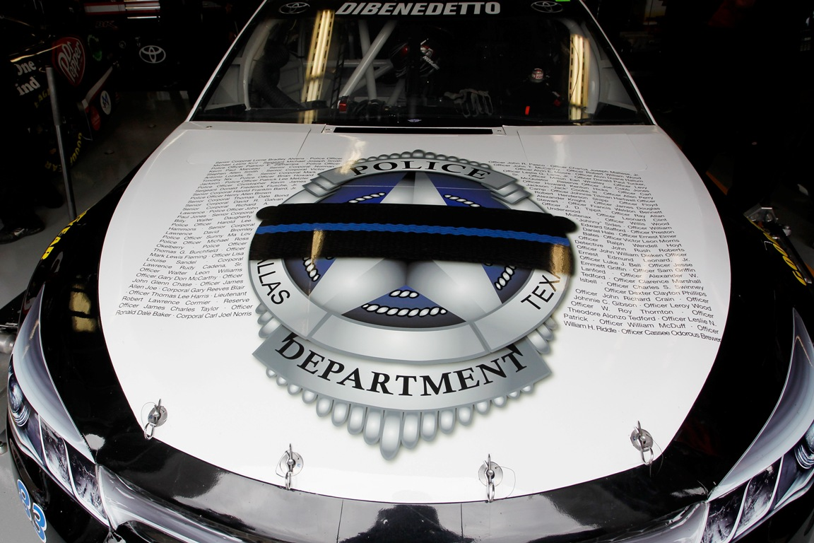 A view of the car of Matt DiBenedetto, driver of the #83 ZAK Backs the Blue Toyota, honoring the Dallas Police Department during practice for the NASCAR Sprint Cup Series AAA Texas 500 at Texas Motor Speedway on November 5, 2016 in Fort Worth, Texas. (Getty Images)