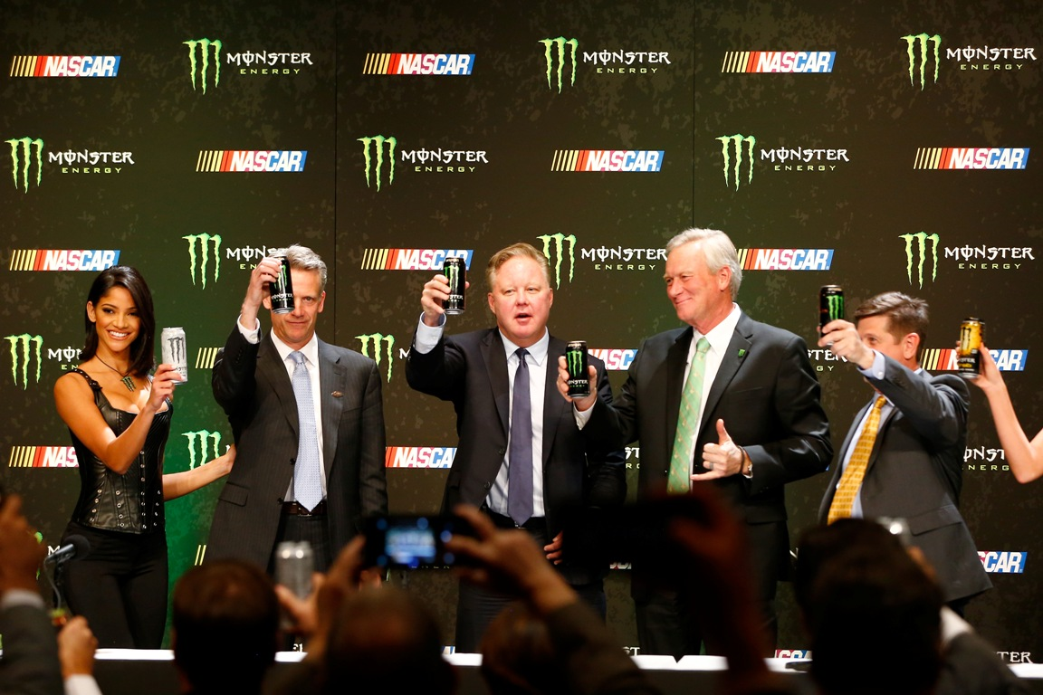 Steve Phelps, Brian France, Mark Hall and Mitch Covington toast during a press conference as NASCAR and Monster Energy announce premier series entitlement partnership at Wynn Las Vegas on December 1, 2016 in Las Vegas, Nevada. (Getty Images)