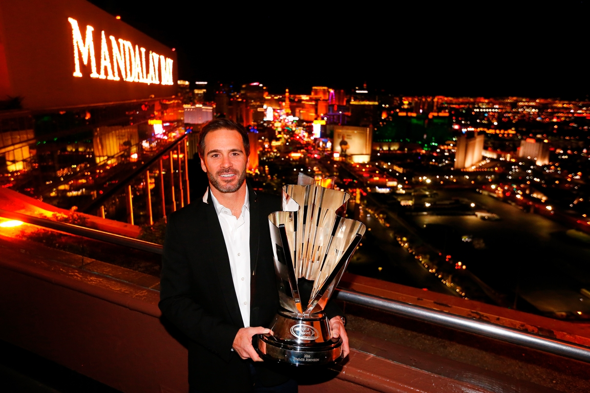 NASCAR Sprint Cup Series Champion Jimmie Johnson poses with the 2016 NASCAR Championship trophy at the House of Blues Foundation Room inside Mandalay Bay Resort & Casino during NASCAR Champion's Week on November 30, 2016 in Las Vegas, Nevada.  (Getty Images)