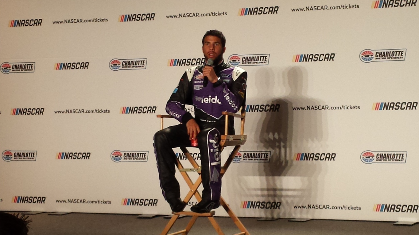 """Darrell """"Bubba"""" Wallace Jr. meets with the media Wednesday during the NASCAR Media Tour in Charlotte (Greg Engle)"""