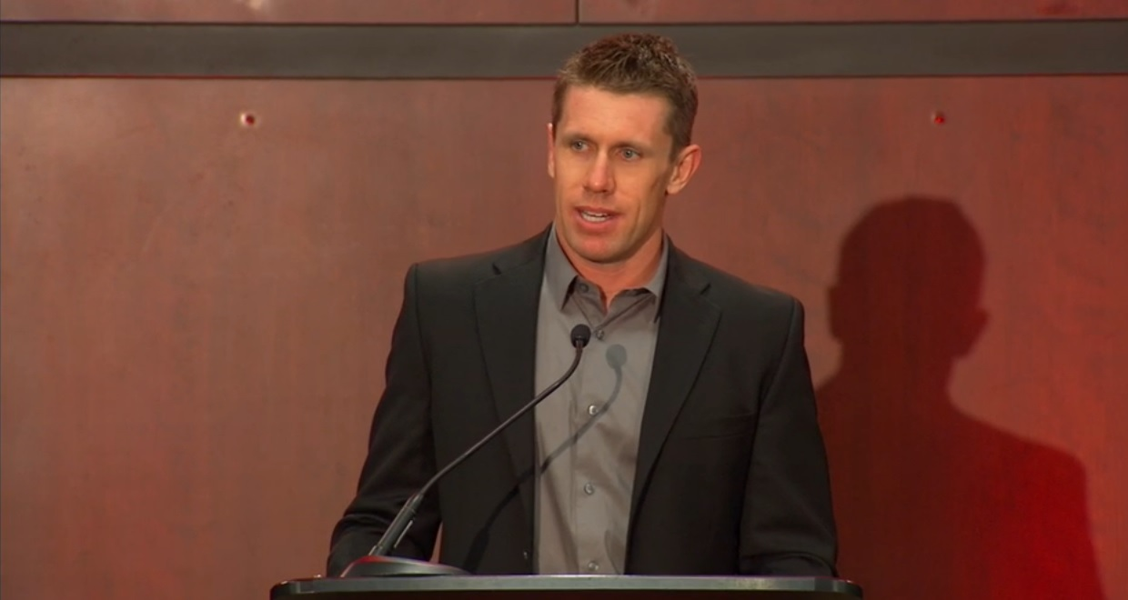 Carl Edwards meets with the media Wednesday at Joe Gibbs Racing.
