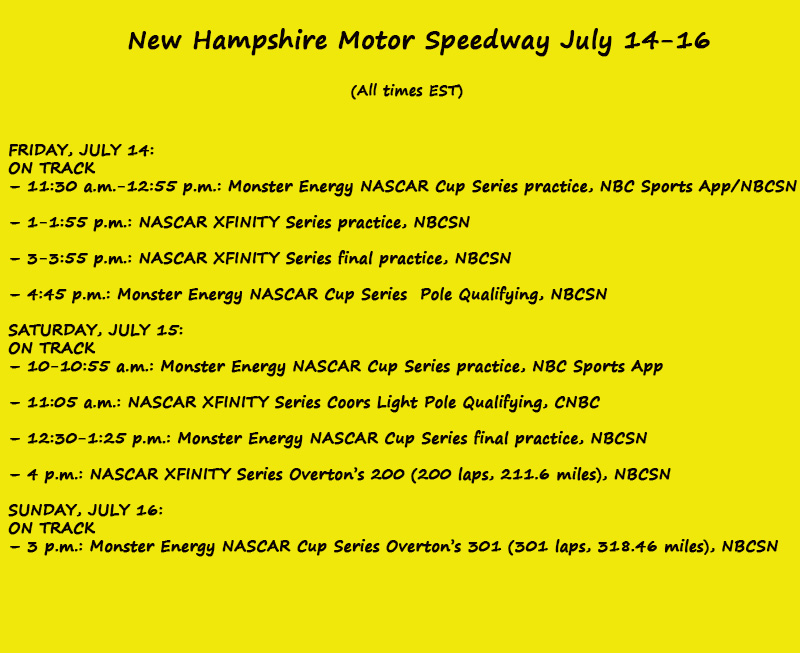 Nascar Weekend On Track Schedule New Hampshire Motor