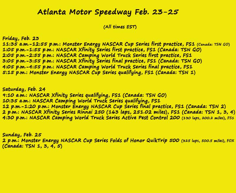 Nascar on track schedule atlanta motor speedway for Homestead motor speedway schedule