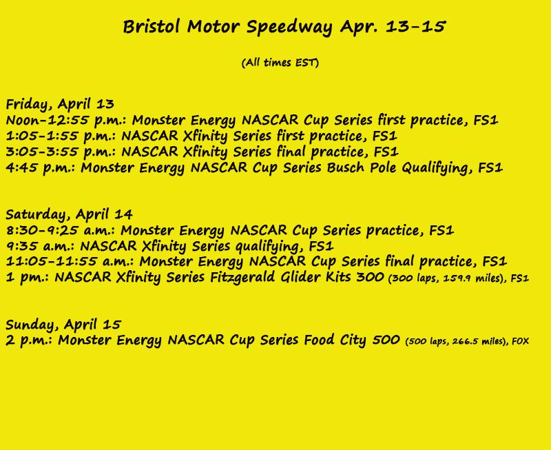 Nascar weekend on track schedule bristol motor speedway for Texas motor speedway weekend schedule