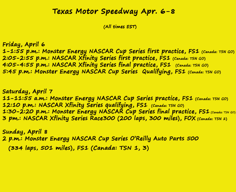 nascar weekend on track schedule texas motor speedway