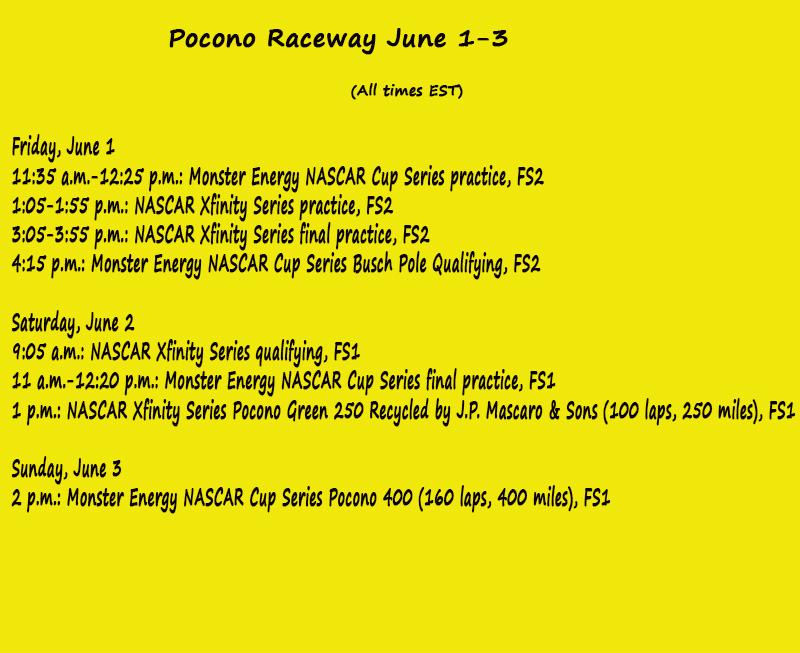 Pocono Weekend On-Track Schedule | CupScene com
