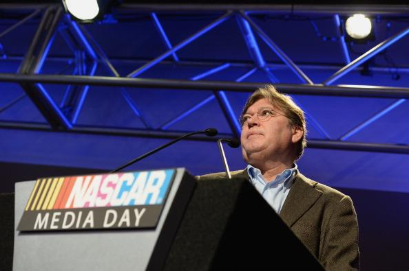 DAYTONA BEACH, FL - FEBRUARY 13: Robin Pemberton, vice president of competition for NASCAR, speaks to the media during the 2014 NASCAR Media Day at Daytona International Speedway on February 13, 2014 in Daytona Beach, Florida.  (Photo by Robert Laberge/Getty Images)