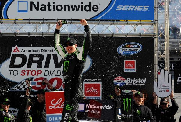 BRISTOL, TN - MARCH 15:  Kyle Busch, driver of the #54 Monster Energy Toyota, celebrates in Victory Lane after winning the NASCAR Nationwide Series Drive To Stop Diabetes 300 at Bristol Motor Speedway on March 15, 2014 in Bristol, Tennessee.  (Photo by Will Schneekloth/Getty Images)